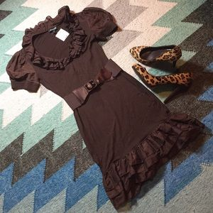 Bebe brown ruffle dress- NWT